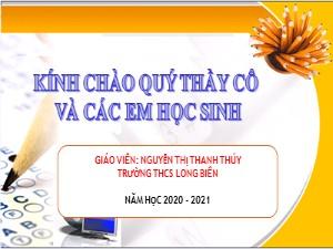 Bài giảng Tin học Lớp 7 - Bài 5: Thao tác với bảng tính (Tiết 2) - Năm học 2020-2021 - Nguyễn Thị Thanh Thúy