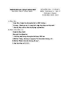 Đề thi học kì I Âm nhạc Khối THCS - Năm học 2020-2021 - Trường THCS Long Biên