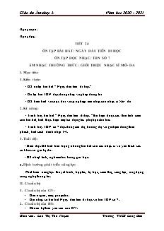 Giáo án Âm nhạc Lớp 6 - Tiết 24: Ôn bài bài hát Ngày đầu tiên đi học. TĐN số 7. Âm nhạc thường thức - Năm học 2020-2021 - Lưu Thị Thu Huyền