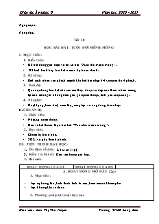 Giáo án Âm nhạc Lớp 8 - Tiết 30: Học bài hát Tuổi đời mênh mông - Năm học 2020-2021 - Lưu Thị Thu Huyền
