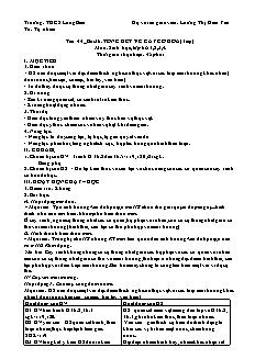 Giáo án Sinh học Lớp 6 - Bài 36: Tổng kết về cây có hoa (Tiết 2) - Năm học 2020-2021 - Lương Thị Kim Yến