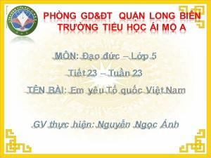 Bài giảng Đạo đức Lớp 5 - Tiết 23: Em yêu Tổ quốc Việt Nam - Nguyễn Ngọc Ánh
