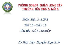 Bài giảng Địa lí Lớp 5 - Tiết 10: Nông nghiệp - Nguyễn Ngọc Ánh