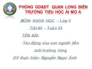 Bài giảng Khoa học Lớp 5 - Tiết 65: Tác động của con người đến môi trường rừng - Nguyễn Ngọc Ánh