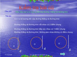 Bài giảng Hình học 9 - Tiết 7: Vị trí tương đối của hai đường tròn