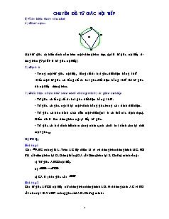 Chuyên đề Ôn luyện thi vào lớp 10 môn Toán