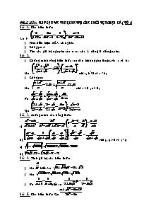Đề cương ôn tập Toán 9 - Chủ đề 1: Rút gọn và tính giá trị của biểu thức đại số