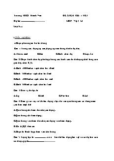Đề kiểm tra 1 tiết môn Vật lí - Trường THCS Thanh Vân