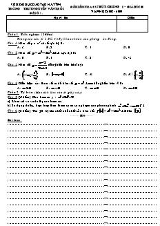 Đề kiểm tra 45 phút - Chương I – Giải tích 12CB