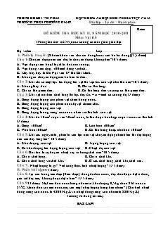 Đề kiểm tra học kỳ II môn: Vật lí 8
