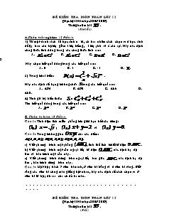 Đề kiểm tra môn Toán lớp 12 (học kỳ II)