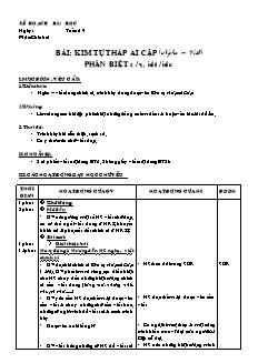 Giáo án Chính tả 4 - Tuần 19 đến 25