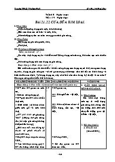 Giáo án Công nghệ 8 - Bài 21 đến 23 - Gv: Huỳnh Hữu Đạt - Trường THCS Thới An Hội