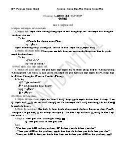 Giáo án Đại số 10 - Học kì 1 - GV: Nguyễn Xuân Thành - Trường Trung Học Phổ Thông Trung Phú