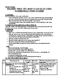 Giáo án Hướng nghiệp 10 - Chủ đề 7 tháng 3 - Tìm hiểu thực tế 1 đơn vị sản xuất công nghiệp hoặc nông nghiệp