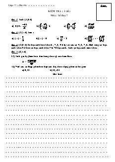 Kiểm tra (1 tiết) môn: Số học 7