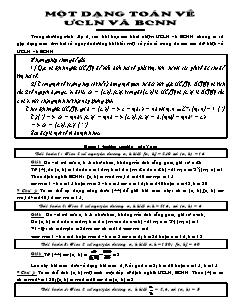 Một dạng toán về ƯCLN và BCNN