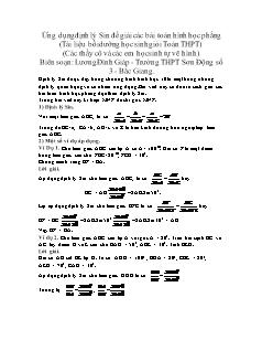 Ứng dụng định lý Sin để giải các bài toán hình học phẳng (Tài liệu bồi dưỡng học sinh giỏi Toán THPT)