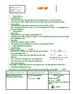 Giáo án Bài tập Vật lý 11 nâng cao - Tiết 20