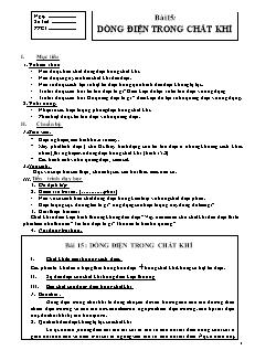 Giáo án Vật lý 11 - Bài 15 - Dòng điện trong chất khí