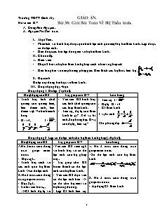 Giáo án Vật lý 11 - Bài 30 - Giải bài toán về hệ thấu kính
