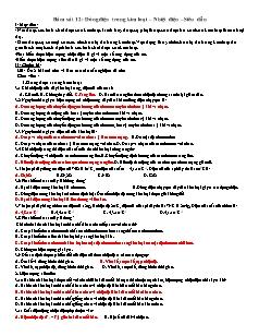Giáo án Vật lý 11 - Bám sát 12: Dòng điện trong kim loại – Nhiệt điện –Siêu dẫn