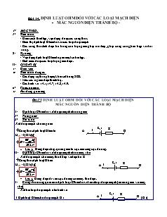 Giáo án Vật lý 11 NC - Bài 14 - Định luật Ohm đối với các loại mạch điện - Mắc nguồn điện thành bộ