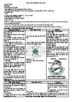 Giáo án Vật lý 11 - Tiết 54 - Từ trường trái đất