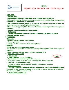 Giáo án Vật lý lớp 11 - Bài 9 - Định luật ôm đối với toàn mạch