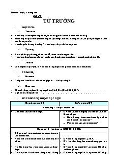 Giáo án Vật lý lớp 11 nâng cao - Bài 26 - Từ trường