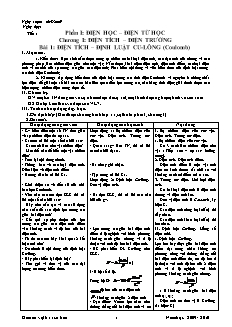 Giáo án Vật lí 11 cơ bản kì 1