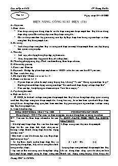 Giáo án Vật lý 11 CB - GV: Hoàng Hải Hà - Tiết 13 - Điện năng. Công suất điện (t1)