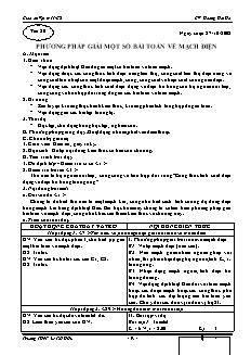 Giáo án Vật lý 11 CB - GV: Hoàng Hải Hà - Tiết 20 - Phương pháp giải một số bài toán về mạch điện