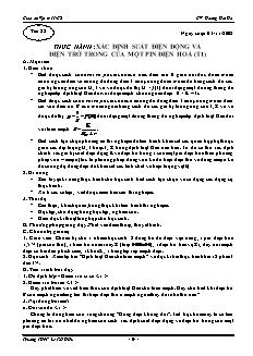Giáo án Vật lý 11 CB - GV: Hoàng Hải Hà - Tiết 22 - Thực hành: xác định suất điện động và điện trở trong của một pin điện hoá (t1)