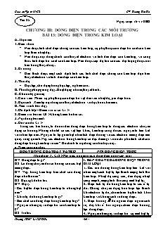 Giáo án Vật lý 11 CB - GV: Hoàng Hải Hà - Tiết 25 - Dòng điện trong kim loại