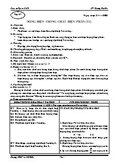 Giáo án Vật lý 11 CB - GV: Hoàng Hải Hà - Tiết 27 - Dòng điện trong chất điện phân (t2)