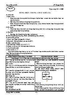 Giáo án Vật lý 11 CB - GV: Hoàng Hải Hà - Tiết 29 - Dòng điện trong chất khí (t1)