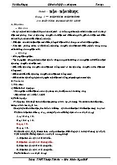 Giáo án Vật lý 11 nâng cao - Vũ Kim Phượng - Trường THPT Thuận Thành
