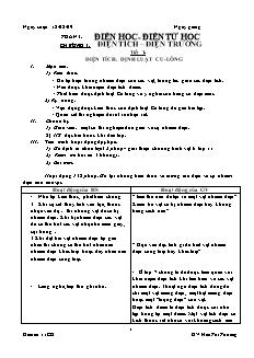Giáo án Vật lý 11 - Tiết 1: Điện tích. Định luật Cu-lông - GV: Hứa Thị Thương